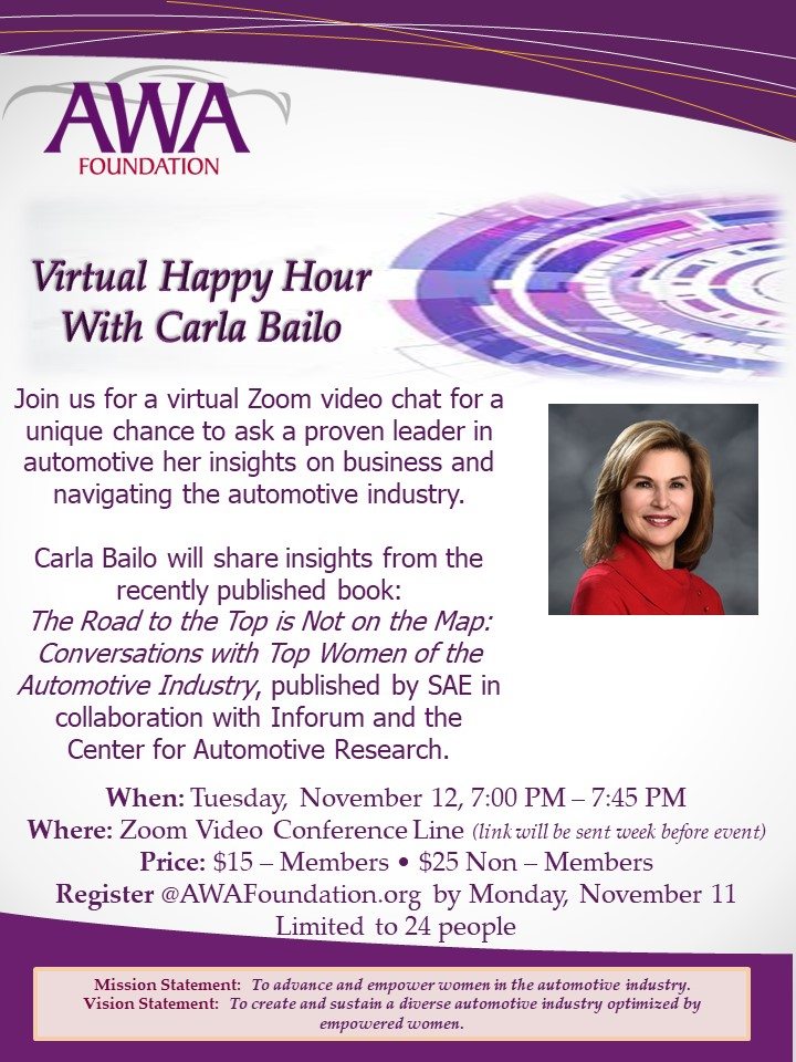 Virtual Happy Hour with Carla Bailo on Tuesday, November 12.