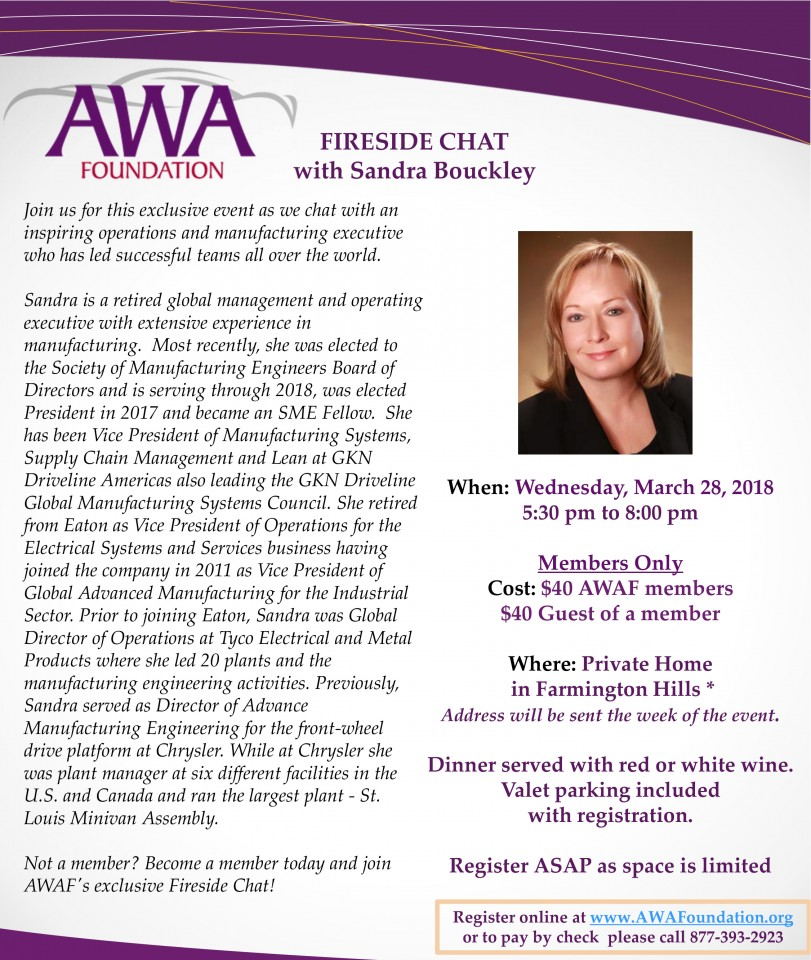 AWAF Fireside Chat with Sandra Bouckley